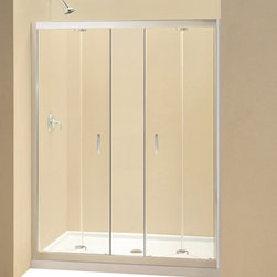 DreamLine - DreamLine Butterfly Frameless Bi-Fold Shower Door - This smart kit from DreamLine offers the perfect solution for a bathroom remodel or tub-to-shower conversion project with a BUTTERFLY bi-fold shower door, universal shower backwall panels and a coordinating SlimLine shower base. The BUTTERFLY shower door is comprised of two sets of bi-fold panels that provide an ample walk-in opening while saving space. The SlimLine shower base incorporates a low profile design for a sleek modern look, while the shower backwall panels have a tile pattern. Choose a beautiful and efficient DreamLine shower kit to completely transform a shower space. Items included: Butterfly Shower Door, 36 in. x 60 in. Single Threshold Shower Base and QWALL-5 Shower Backwall KitOverall kit dimensions: 36 in. D x 60 in. W x 76 3/4 in. HButterfly Shower Door:,  58 - 59 1/2 in. W x 72 in. H ,  1/4 (6 mm) clear tempered glass,  Chrome hardware finish,  Frameless glass design,  Width installation adjustability: 58 - 59 1/2 in.,  Out-of-plumb installation adjustability: Up to 3/4 in. per side,  Space-saving frameless bi-fold door,  Anodized aluminum profiles and guide rails,  Door opening: 47 in.,  Reversible for right or left door opening installation,  Material: Tempered Glass, Aluminum,  Tempered glass ANSI certified36 in. x 60 in. Single Threshold Shower Base:,  High quality scratch and stain resistant acrylic,  Slip-resistant textured floor for safe showering,  Integrated tile flange for easy installation and waterproofing,  Fiberglass reinforcement for durability,  cUPC certified,  Drain not included,  Center, right, left drain configurationsQWALL-5 Shower Backwall Kit:,  Color: White,  Assembly required,  Designed to be installed over existing finished surface (not directly against studs),  Includes 2 glass corner shelves,  Attractive tile pattern,  Unique water tight connection of panels,  Durable acrylic/ABS construction,  Trim-to-Size sidewall design,  Must be trimmed during installa