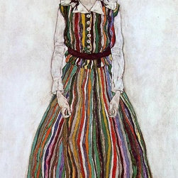 """Schiele Portrait of Edith Schiele in a Striped Dress - 16"""" x 24""""  Print - 16"""" x 24"""" Egon Schiele Portrait of Edith Schiele in a Striped Dress premium archival print reproduced to meet museum quality standards. Our museum quality archival prints are produced using high-precision print technology for a more accurate reproduction printed on high quality, heavyweight matte presentation paper with fade-resistant, archival inks. Our progressive business model allows us to offer works of art to you at the best wholesale pricing, significantly less than art gallery prices, affordable to all. This line of artwork is produced with extra white border space (if you choose to have it framed, for your framer to work with to frame properly or utilize a larger mat and/or frame).  We present a comprehensive collection of exceptional art reproductions byEgon Schiele."""