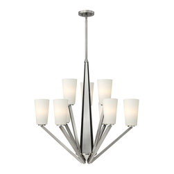 Hinkley Lighting - Hinkley Lighting 4138BN Victory 9 Light Chandeliers in Brushed Nickel - Victory features three unique triangular plates that create a modern pyramid design, concealing the center wire way. The contemporary angled arms on this stem hung 9 light chandelier in a Brushed Nickel finish reinforce the triangular theme, adding minima
