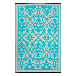 Fab Habitat - Venice Rug, Cream & Turquoise, 6x9 - Add a touch of Venetian splendor to your patio or playroom. This festive all-weather rug is woven from straws made of recycled plastic. Washable and mildew resistant, it's an ideal blend of good looks and easy maintenance. Comes with its own tote bag, for convenient transport or storage.