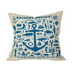 DENY Designs - Anderson Design Group Anchors Aweigh Throw Pillow, 26x26x7 - Ahoy, mateys! Set sail with this nutty, nautical throw pillow. Each side is adorned with maritime symbols and slogans — both traditional and tongue in cheek. Perfect for the beach, the bedroom, the den or wherever the sea calls you.