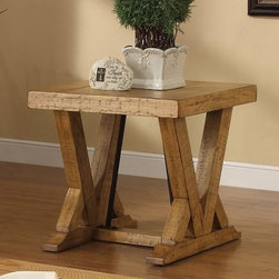 Riverside Summerhill End Table - Canby Rustic Pine - The Riverside Summerhill End Table - Canby Rustic Pine makes a welcome addition to your contemporary décor. Crafted of pine solids and veneer with metal angle supports, this durable end table features a Canby rustic pine finish ideal for ranch and cottage styled homes. The top of this table is random with physical distressing adding to its rustic appearance.Notes on Riverside ConstructionAll Riverside domestic furniture is constructed of fine oak, ash, poplar, and pine wood. These wood types are durable and feature beautiful, open grains that make them much preferred among furniture manufacturers. Each piece of wood is first graded for quality, then kiln-dried to remove excess moisture and prevent splitting. The wood is then constructed into a high-quality furniture piece using a combination of hardwood solids and hand-selected veneers. Techniques used on Riverside pieces include dovetail joinery, heavy-duty drawer roller guides, and multi-step finish applications that include hand-sanding and polishing for a deep, lustrous result. All Riverside furniture is given this high-quality treatment to ensure the beauty and durability of your final product.About Riverside FurnitureRiverside has been growing for more than half a century. The company's founder, Herman Udouj, opened the doors to his first factory in 1946, and along with 12 employees, he began making handcrafted furniture for the post-World War II Baby Boom era. Since then, generations of customers have furnished their homes and offices with Riverside's wide range of furniture products. Riverside strives to be trusted for quality products that are an affordable value. It's just that simple.