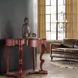 Hooker Furniture - Hooker Furniture Melange Red Croc Console Table 638-85075 - Come closer to Melange, and you will discover something unexpected, an eclectic blending of colors, textures and materials in a vibrant collection of one-of-a-kind artistic pieces.