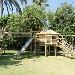 5-deck treehouse by Treehouse Life - Our signature design, 5-deck treehouse by Treehouse Life with Log Rope Bridge entrance, 4-sided Rope Ladder leading to a secret entrance, stainless steel slide, Fireman's Pole, Rope Bridge, Play-Tower, Climbing and Bouldering Wall and Swings including a group Nest Swing, solar LED's throughout and Hammocks for sleep-overs.