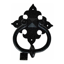 Renovators Supply - Door Knockers Black Cast Iron Door Knocker RSF 6 1/2 H 4 1/2W | 15667 - Door Knocker. Once a sign of their homeowner?s profession- doorknockers now come in a variety of designs & finishes for everyone?s style. Step-up your curb appeal & add value to your home with finishing touches like a knocker. Made of 100% black cast iron with our Exclusive rust-resistant RSF powder coat finish make this knocker a knock out! Easy installation- thread bolts through the door for secure mounting. Mounting hardware included. Measures 6 1/2 in. H x 4 1/2 in. W.