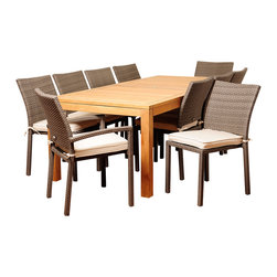 Amazonia Teak - Monica 11-piece Teak and Wicker Outdoor Dining Set - The Monica 11-piece outdoor patio set offers transitional styling and a functional design that is sure to enliven any space. Enjoy your patio in comfort with this alluring dining set,which includes a durable teak wood construction and soft seat cushions.
