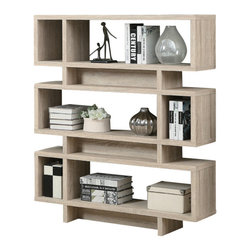 """Monarch Specialties - Monarch Specialties 3201 Modern Bookcase in Natural with Chrome Metal - Add some pizzazz to your living space with this 55"""" high hollow-core bookcase! This modern, natural reclaimed wood-look finish bookcase has ample room for displaying pictures, decorative pieces and even books. Its sturdy structure and innovative features will definitely add visual appeal to any decor."""