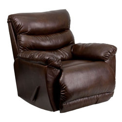 """Flash Furniture - Contemporary Tonto Espresso Bonded Leather Rocker Recliner - This Bonded Leather Chaise Recliner has Contemporary styling which will compliment any room in your home while providing all of the comfort you expect.; Stylish and Comfortable Chaise Recliner; Espresso Brown Bonded Leather upholstery; High Quality Leggett and Platt mechanisms; High Quality Leggett and Platt mechanisms; Dacron wrapped 1.8 resiliency foam; Minimal assembly required; Back comes detached for easier handling; Weight: 120 lbs; Overall Dimensions: 37""""W x 41""""D x 41""""H"""