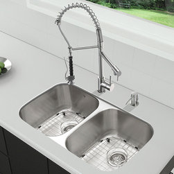 """Vigo - All in One 32"""" Undermount Stainless Steel Kitchen Sink and Faucet Set - Breathe new life into your kitchen with a VIGO All in One Kitchen Set featuring a 32"""" Undermount kitchen sink, faucet, soap dispenser, matching bottom grids, and strainers.; The VGR3218BL double bowl sink is manufactured with 18 gauge premium 304 Series stainless steel construction with commercial grade premium satin finish; Fully undercoated and padded with a unique multi layer sound eliminating technology, which also prevents condensation.; All VIGO kitchen sinks are warranted against rust; Exterior Measures: 32 1/4""""W x 18 1/2""""D; Each bowl's interior dimensions: 14 5/8""""W x 16 1/2""""D; Bowl depth: 9"""" (larger bowl) and 5"""" (smaller bowl); Required interior cabinet space: 35""""; Kitchen sink is cUPC and NSF-61 certified by IAPMO; All mounting hardware and cutout template provided for 1/8"""" reveal or flush installation; The VG02007ST kitchen faucet features a spiral pull-down spray head for powerful spray and separate spout for aerated flow, and is made of solid brass with stainless steel finish.; Includes a spray face that resists mineral buildup and is easy-to-clean; High-quality ceramic disc cartridge; Retractable 360-degree swivel spout expandable up to 20""""; Single lever water and temperature control; All mounting hardware and hot/cold waterlines are included; Water pressure tested for industry standard, 2.2 GPM Flow Rate; Standard US plumbing 3/8"""" connections; Faucet height: 27 1/4""""; Faucet spout reach: 10 1/8""""; Faucet sprayer reach: 8 1/8""""; Kitchen faucet is cUPC, NSF-61, and AB1953 certified by IAPMO.; Faucet is ADA Compliant; 2-hole installation with soap dispenser; Soap dispenser is solid brass with an elegant stainless steel finish and fits 1 1/2"""" opening with a 3 1/2"""" spout projection.; Matching bottom grids are chrome-plated stainless steel with vinyl feet and protective bumpers.; Sink strainers are made of durable solid brass in chrome finish; All VIGO kitchen sinks and faucets have """