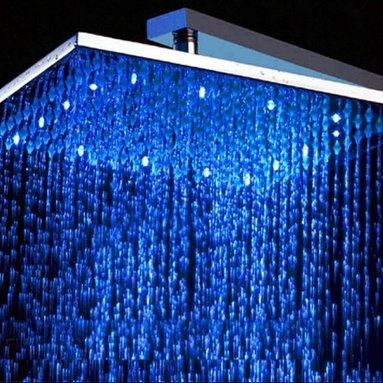 Alfi brand - 12-Inch Square Multicolor LED Rain Showerhead - 12 in. Square head. No Batteries required.This high tech rain shower head powers the LED lights using a built in hidden dynamo. The lights will automatically turn on when water pressure is turned on. The lights will dim and brighten when you lower and raise the pressure. Auto Temperature Detected Light Color Change. The shower head will automatically change colors according to the temperature of the water. When water temperature is below 113'F lights glow BLUE.. When water temperature is between 114'F - 121'F lights glow RED.. When water temperature is over 122'F lights flash RED.. Never be scalded again by entering a shower that is just too hot. Standard size. Threading is universal so it will fit any standard shower head by simply unscrewing the old one by hand and attaching the new one. A shower arm is not included. . This head can be used with either wall or cieling mounter arm. Modern Stylish Design. Completely polished chrome finish made to match or stand out from your other bathroom fixtures.. This modern shower head is made out of brass, not plastic, so its made to last, not just to look good.Turn on the fun in your shower just by turning on the water, the LED lights will automatically light up and set the mood. They will even change colors automatically based on the water temperature. All this with no batteries, everything is self-powered by a built in dynamo that takes advantage of the water pressure to create the energy to light the bulbs.