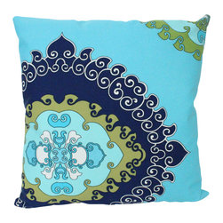 The Pillow Studio - Turquoise, Navy and Green Schumacher Outdoor Pillow Cover- Super Paradise Print - I love this outdoor fabric by Trina Turk and its adds a bit of fun when the pattern is placed off center... makes me think of summer