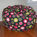 "Bean Bag Chairs for Girls Rooms - Ahh! Products Bubbly cotton bean bag chair in watermelon colorway. Remove and wash cover, water-repel liner. 37"" large size. 10 year warranty, Made in USA."
