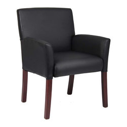 Boss Chairs - Boss Chairs Boss Box Arm Guest Chair with Mahogany Finish - Mid-back box arm chair. Upholstered with our ultra soft and durable Caressoft upholstery. Mahogany wood finish legs. Matching guest chair for B616.