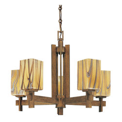Minka Lavery - Minka Lavery 4255 5 Light 1 Tier Wood Chandelier Seco Oro Collection - Five Light Single Tier Wood Chandelier from the Seco Oro CollectionFeatures: