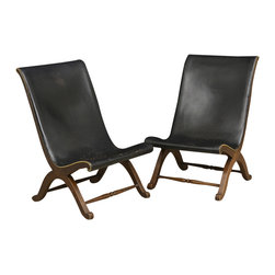 Pair of French Vintage Leather Gondole Chairs - The HighBoy, Alhambra Antiques