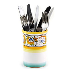 Artistica - Hand Made in Italy - Perugino: Flatware - Utensil Holder - Perugino Collection: The Perugino pattern is an Artistica's exclusive. It was inspired by the Deruta's classic Raffaellesco a design that traces his origins from the XVI Century graceful arabesques of painter Raphael famous frescoes.