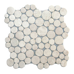 """CNK Tile - White Moon Mosaic Tile - Each stone is carefully selected and hand-sorted according to color, size and shape in order to ensure the highest quality pebble tile available.  The stones are attached to a sturdy mesh backing using non-toxic, environmentally safe glue.  Because of the unique pattern in which our tile is created they fit together seamlessly when installed so you can't tell where one tile ends and the next begins!     Usage:    Shower floor, bathroom floor, general flooring, backsplashes, swimming pools, patios, fireplaces and more.  Interior & exterior. Commercial & residential.     Details:    Sheet Backing: Mesh   Sheet Dimensions: 12"""" x 12""""   Pebble size: Approx 3/4"""" to 2 1/2""""   Thickness: Approx 3/8""""   Finish: Natural White"""