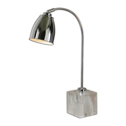 Mortise & Tenon - Rico Lamp - Polished chrome plated metal with faux rock crystal foot and a pivoting shade. The shade is a polished chrome plated metal.