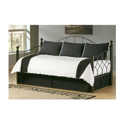 Leggett/Platt Fashion Bed - Zebra 5 Pc Daybed Ensemble - Includes comforter, bed skirt with split corners and three standard shams. Deep quilted comforter with 16 ozs. hand-packed bonded fiberfill. Shams with envelope style closure. Sophisticated and exotic. 15 in. drop bed skirt. Made from 100% cotton. Black and white color. Comforter: 55 in. L x 97 in. W