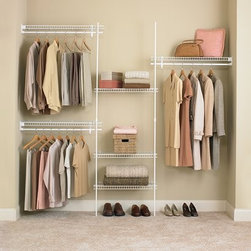 ClosetMaid SuperSlide Closet Organizer Kit, White - If you're a power wrapper or hardcore crafter, customizable wire closet organizers can be your best friend. Mounting a wire shelf parallel to the short wall of a closet creates a nice pocket for storing wrapping paper rolls.