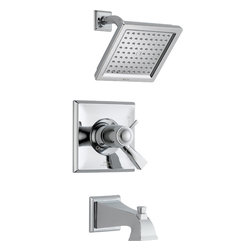 Delta - Dryden TempAssure 17T Series Thermostatic Tub and Shower Trim - Delta T17T451 Dryden TempAssure 17T Series Thermostatic Tub and Shower Trim with Volume Control, Raincan Showerhead and Diverter Tub Spout in Chrome.