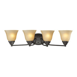 Z-Lite - Z-Lite 4 Light Vanity Light - A classic bronze finish joined with warm amber-tea stained shades make this four light vanity fixture a tasteful addition to any home.