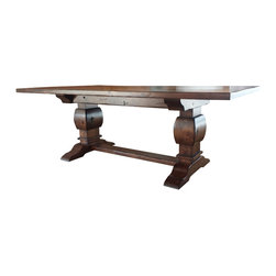 """Rustic Trestle Table Antique Gunstock Finish - Rustic Trestle Table. Hand made of knotty alder, distressed with an antique Gunstock finish. Dimensions are 42"""" by 88"""" by 30"""" high. Designed and built by David Haak of Haak Designs LLC."""