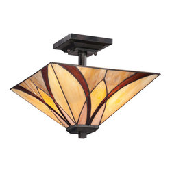 Quoizel - Quoizel TFAS1714 Asheville 2 Light Semi-Flush Ceiling Fixture with Tiffany Glass - Specifications: