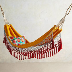 "Canyon Fringe Hammock, Orange - Maybe the twee-est of the bunch, this one will bring you plenty of ""ooh's"" and ""aahs."" So cute!"