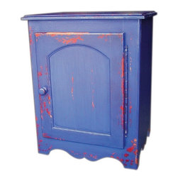 British Traditions - Alsace Square End Table w One Single Door Cabinet (Wild Blueberry) - Finish: Wild Blueberry. Each finish is hand painted and actual finish color may differ from those show for this product. Square end table. Doubles as a nightstand. Simple French curves. Minimal assembly required. Interior cabinet size: 19 in. W x 19 in. D x 22 in. H. 4.75 in. Up off ground. 21.5 in. W x 21.5 in. D x 28 in. H (62 lbs.)The simplicity of this small table with its gently-shaped skirt and single door with large wooden knob makes it versatile and perfect for any application where space is an issue. Great for a powder room, to hold spices in the kitchen, or as a bedside table in a child's room, the Alsace table comes with one adjustable shelf.