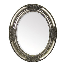 Fairytale Mirror - See your reflection in dark, romantic style within this breathtaking oval looking glass, the Fairytale Mirror.  Finished in a dramatically noir antiqued silver that fades to a rich old-world black in the carved edge motifs, this high-drama wall mirror includes diminutive bands of beaded edge texture and geometric elements within its complex frame design.