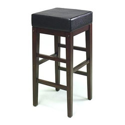 Office Star - Square Vinyl Seat Stool w Wooden Frame, Backl - Create the right atmosphere in any bar with such an elegant thirty inch high seat.  Its square cushion is upholstered in sleek black vinyl, sitting over a handsome ladder frame in a harmonizing espresso finish.  Its rich, warm color combination provides ambiance and class.  The stylish Metro Backless Bar Stool with Square Vinyl Seat offers sleek sophistication at an exceptional value!  Strong lines splendidly accentuate this flashy offering from Metro. * Metro Collection. Espresso Frame. Black Vinyl covered seat Finish. 14.75 in. x 14.75 in. x 30 in.. 14 lbs