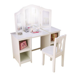 KidKraft - Deluxe Vanity & Chair White by Kidkraft - Every young girl needs her very own vanity! Our Deluxe Vanity & Chair lets girls see themselves from three different angles, and the shelves are perfect for storing makeup and dress-up clothes. If you're going to get ready, you might as well get ready in style.