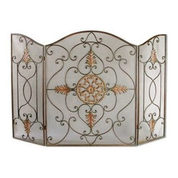 Uttermost - Uttermost 20508 Egan Fireplace Screen in Wrought Iron - This attractive fireplace screen is made of wrought iron. The dark brown basecoat is covered with a semi-transparent dark gray wash-Light Bath Lightinga tan glaze. The perfect finishing touch to a fireplace.