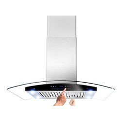 """AKDY - AKDY AK-ZH601C Euro Stainless Steel Island Mount Range Hood, 36"""" - The Island curved glass 36"""" range hood offers a fashionable and elegant appearance to your kitchen decor. This tempered, curved glass canopy features high-performance filtering without making a lot of noise. The double-sided sliding control panel gives you ability to control the unit on either side. Kitchen appliance has a duct or ductless application. Recirculation kits and charcoal filter for ductless mode needs to be purchased separately. The high-density dishwasher-safe aluminum baffle filters are easy to remove and clean."""