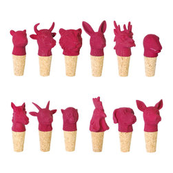 imm Living - imm Living Best Years Plum Wine Stoppers, Set of 12 - Gang's all here. Crafted from purple-pink resin and cork, these whimsical wine stoppers are inspired by the Chinese zodiac. The 12 different animal signs—tiger, rabbit, rooster, dog, goat, ox, rat, dragon, snake, monkey, horse, and pig—are all represented. Gift them to a wine-loving friend, or use to top off opened bottles the next time you entertain.Set of 12 stoppers; one of each animalCork bottom with resin topShips in 1-2 weeks