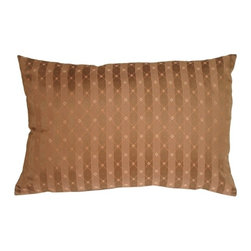 Pillow Decor - Pillow Decor - Manhattan Stripes in Brown Rectangular Throw Pillow - Achieve a clean and classic look with this versatile throw pillow. A delicate diamond pattern in orange, cream and light brown is overlayed on top of a subtle two-toned light brown striped background with a subtle sheen. This pillow lends itself to a wide range of decorative styles. It can be used to dress up a formal living room but would be just as at home in a family room, den or bedroom.