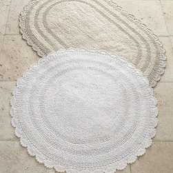 "Horchow - Oval Bath Rug 21"" x 34"" - WHITE - Oval Bath Rug 21"" x 34""DetailsIn your choice of white or cream a 21"" x 34"" oval bath rug with crochet border. Select color when ordering.Made of cotton.Machine wash. Imported."