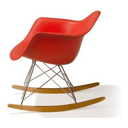 Eames Molded Plastic Armchair with Rocker Base - The most cheerful way to rock and roll! The Eames molded plastic rocker is a modern icon that adds a burst of fun and color to any room in your home.