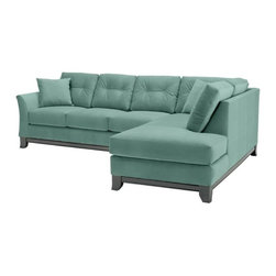 Apt2B - Marco 2PC Sectional Sofa, Sixties Blue, Chaise on Right (as Shown) - Make yourself comfortable on the Marco Collection. Tufted buttons on the back cushions, and a wood base stained in a rich, espresso finish give it a modern look.