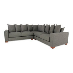 "GALLERY FURNITURE CUSTOM CONTEMPORARY CHARCOAL GREY SECTIONAL - Equipped with sensual throw pillows for adequate back support, this low-profile contemporary style sectional from Gallery Furniture's signature collection is perfect for any room in your home. It features a solid hardwood frame that is stapled and screwed for unmatched durability, and comes with high density foam cushions for tremendous comfort. The seat and back springs are placed 3"" apart to help distribute weight evenly. Made in the U.S.A., have yours delivered TODAY from Gallery Furniture!"