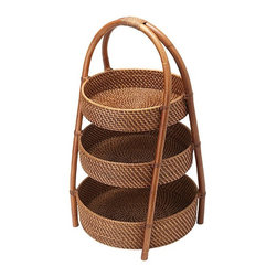 Kouboo - Rattan 3-Tier Basket - Take your entertaining to new heights with this hand-woven rattan three-tier server. Featuring three levels, this rattan server will beautifully display fruits, vegetables, tropical flowers and more. Also functioning as a space-saver, this rattan 3-tier server can help organize your kitchen in a naturally beautiful way. 1 year limited warranty.