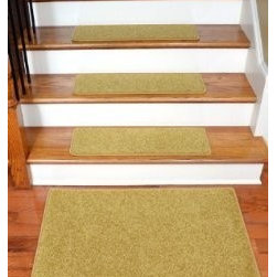 """Dean Flooring Company - Dean Carpet Stair Treads 27"""" x 9"""" - Camel PLUSH (Set of 13) Plus 2' x 3' Mat - Dean Carpet Stair Treads 27"""" x 9"""" - Camel PLUSH (Set of 13) Plus 2' x 3' Mat : Quality, Stylish Carpet Stair Treads by Dean Flooring Company. Extend the life of your high traffic hardwood stairs. Reduce slips/increase traction (treads must be properly secured to your stairs). Cut down on track-in dirt. Great for pets and pet owners (helps your dog easily navigate your slippery stairs. 100% Premium quality nylon. 35 ounce stain and spill resistant PLUSH carpeting. Dean signature rounded corners. Add a fresh new look to your staircase. Set includes 13 carpet stair treads PLUS one roll of double-sided carpet tape for easy, do-it-yourself installation and a matching 2' x 3' landing mat. Each tread is finished on the edges with color matching yarn. No bulky fastening strips. You may remove your treads for cleaning and re-attach them when you are done. Add a touch of warmth and style to your stairs today with new stair treads from Dean Flooring Company!"""