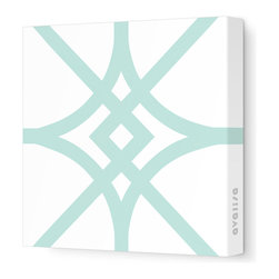 """Avalisa - Pattern - Diamond Stretched Wall Art, 28"""" x 28"""", Sea Green - Here's a real gem for your walls. Bold, graphic lines in a rainbow of color choices form an overlapping, stylized diamond pattern on white, stretched fabric. Pick one in your choice of sizes or get four or more to create a dazzling grid."""