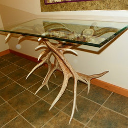 "Belt Mountain Rustic Home Furnishings - Real Elk Antler Sofa or Occasional Table - Real elk antler sofa or occasional table. 2'x4'glass.  Approx 36"" Height. Quality craftsmanship."