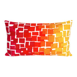 """Trans-Ocean Inc - Ombre Tile Warm 12"""" x 20"""" Indoor Outdoor Pillow - The highly detailed painterly effect is achieved by Liora Mannes patented Lamontage process which combines hand crafted art with cutting edge technology. These pillows are made with 100% polyester microfiber for an extra soft hand, and a 100% Polyester Insert. Liora Manne's pillows are suitable for Indoors or Outdoors, are antimicrobial, have a removable cover with a zipper closure for easy-care, and are handwashable.; Material: 100% Polyester; Primary Color: Red;  Secondary Colors: orange, pink, white, yellow; Pattern: Ombre Tile; Dimensions: 20 inches length x 12 inches width; Construction: Hand Made; Care Instructions: Hand wash with mild detergent. Air dry flat. Do not use a hard bristle brush."""