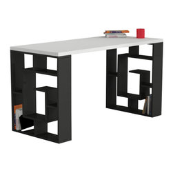 Decortie - LABIRENT WORKING DESK / OFFICE TABLE, White - Black - The Labirent Working Table would look stunning in a contemporary interior. Perfect for the home office, it features a white surface and black frame with sections for storing books, CD's or DVD's. A simple and stylish way to update your home.