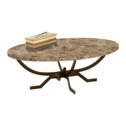 Hillsdale Furniture - Hillsdale Monaco 50x30 Coffee Table - Hillsdale Furniture's Monaco occasional table collection offers luxury and elegance at a price you can afford. A dynamic faux marble top sits atop a dramatic and strong metal base finished in matte espresso to compliment the hues in the table top. Some assembly required.