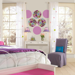 """Twister-Plush Eight Dots Set of Wall Decals - If you're feeling mod and have a taste for the psychedelic then Twister is for you! This pack contains four 13"""" Twister Dots and four 13"""" Plush Purple Dots to coordinate. WallPops are repositionable and always removable."""