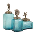Imax Corp - Sea Life Canisters- Set of 3 - Set of 3 canisters, blue colored glass with sea life toppers